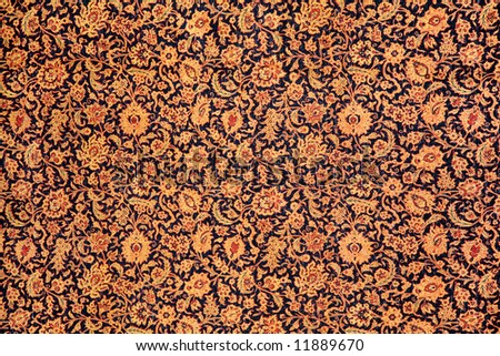 fragment of carpet with floral ornament - stock photo