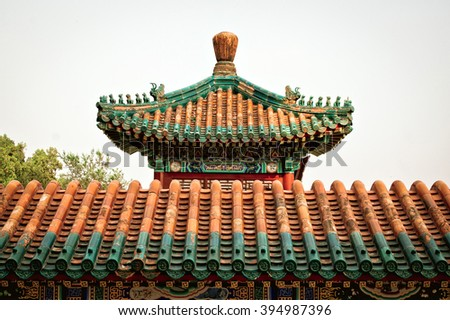 Fragment of Chinese roof in the temple - stock photo