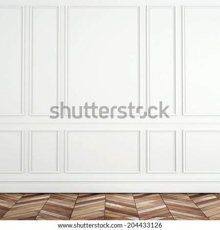 Fragment of classic white interior with wooden floor - stock photo