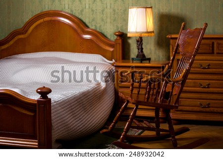 Fragment of classical style bedroom - stock photo