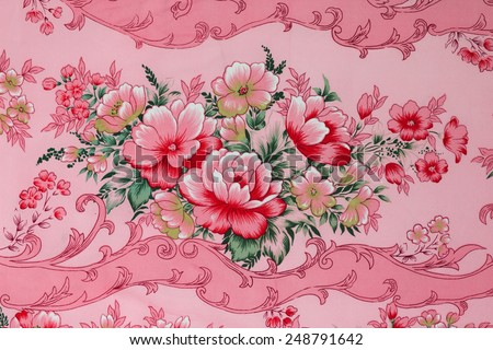 Fragment of colorful retro tapestry textile pattern with floral  - stock photo