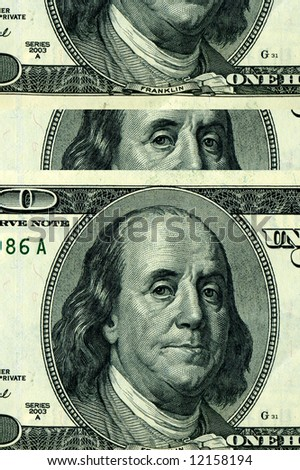 Fragment of dollars for a background