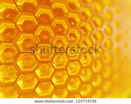 Fragment of honeycomb with full  cells in bright sunlight. - stock photo