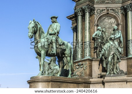 Fragment of Maria Theresia monument in front of the Kunsthistorisches museum in Vienna, Austria. The monument was built in 1888 and is classified as a World Cultural Heritage. - stock photo