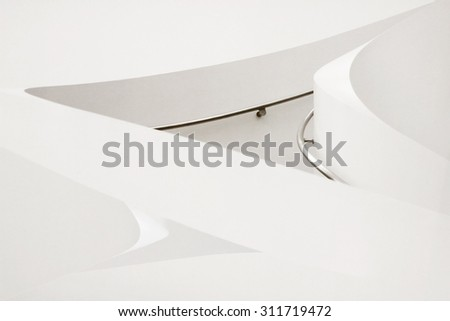 Fragment of modern stairs with handrails. Sample of contemporary minimalism / hi-tech architecture in sterile white colors. Hint of growth, development, progress, purity or perfection. - stock photo