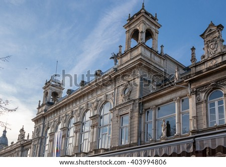 Fragment of old building facade with rich decoration in Ruse, Bulgaria. The Opera is historical baroque building, built in 1902 - stock photo