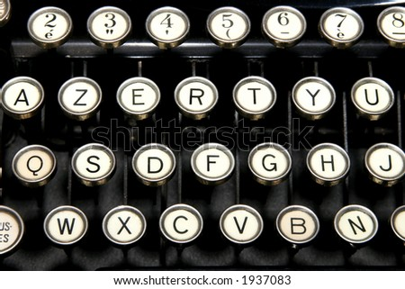 Fragment of old French keyboard - stock photo