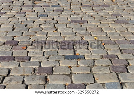 Fragment of old grey cobblestone road with yellow leaves