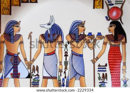 Fragment of plate with scene from ancient Egypt painting - stock photo