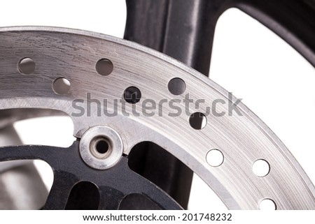 Fragment of powerful motorcycle. Isolated on a white background.