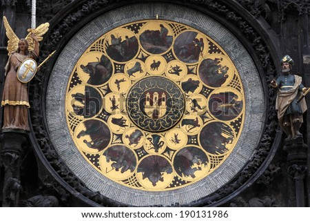 Fragment of prague astronomical clock in czech republic - stock photo