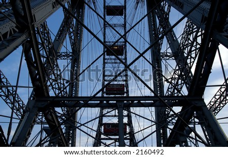 Fragment of prater - giant old ferris wheel in Wien Austria. The wheel is more that 100 years old - stock photo