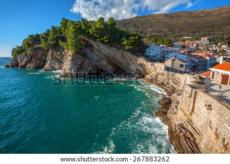 Fragment of  resort town Petrovac - stock photo
