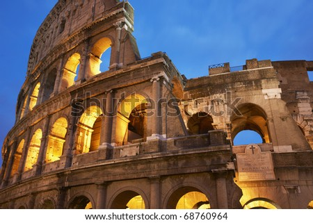 fragment of Rome  Coliseum at night - stock photo