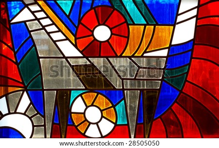 Fragment of stained-glass window. Animal ornamental pattern. - stock photo