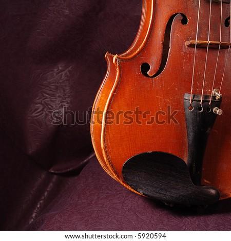 Fragment of string instruments, violin on dark background - stock photo