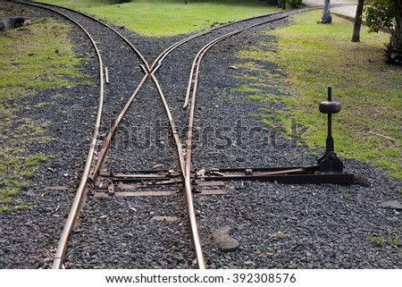 Fragment of the ancient Narrow Gage Railway with an arrow - stock photo