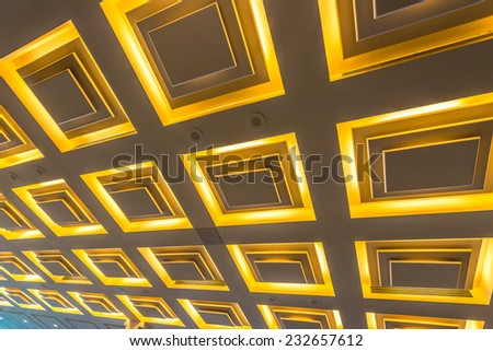 Fragment of the ceiling  of the modern lobby, hallway of the luxury hotel, shopping mall, business center in Vancouver, Canada. Interior design. - stock photo