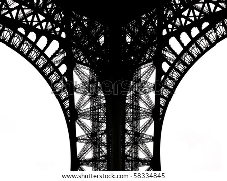 Fragment of the Eiffel Tower - stock photo