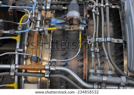 Fragment of the engine helicopter, detailed exposure - stock photo