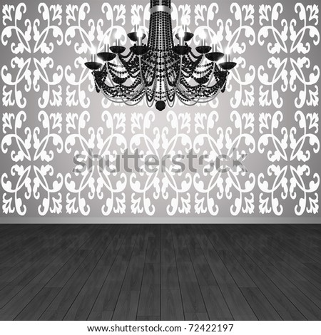 Fragment of the interior. Chandelier against the background of wall with wallpaper and parquet floors. (3D visualization). - stock photo