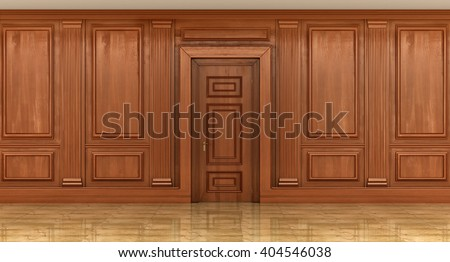 Fragment Interior Classic Wood Panels On Stock Illustration
