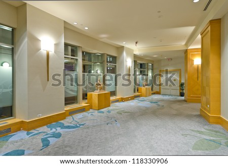 Fragment of the lobby of the luxury five stars hotel. Vancouver, Canada. - stock photo