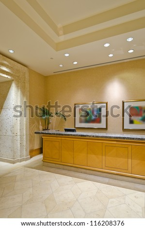 Fragment of the lobby of the luxury five stars hotel with  the counter. Vancouver, Canada. - stock photo