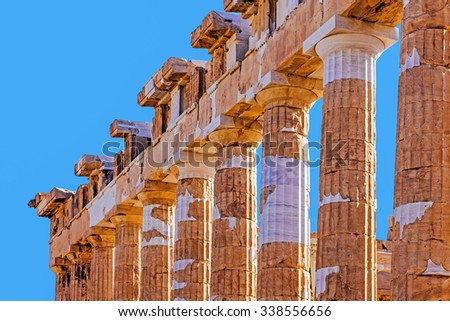 Fragment of The Parthenon, an archaic temple located on the Acropolis of Athens, built in 438 BC. Taken in Athens, Greece. - stock photo