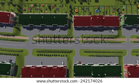 Fragment of the street of a small town. Top view. - stock photo