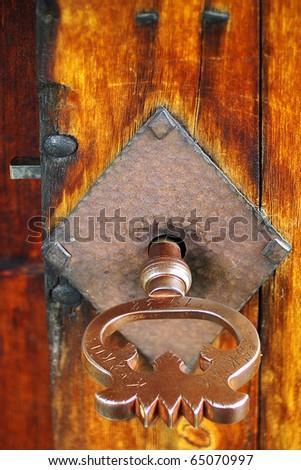 Fragment of vintage door - stock photo