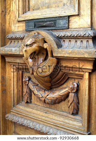 fragment of wooden door as griffin & Fragment Wooden Door Griffin Stock Photo 92930668 - Shutterstock