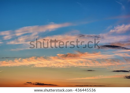 Fragment sky with clouds at sunset.
