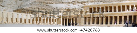 Fragment  Temple of Queen  Hatshepsut  at Luxor .Panorama .Egypt - stock photo