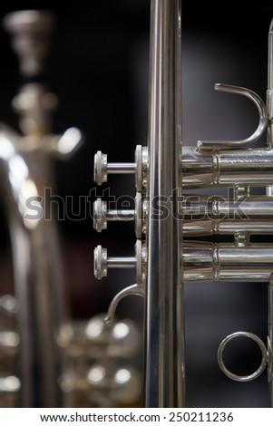 Fragment trumpet closeup - stock photo