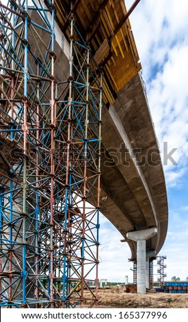 Fragment view of the elevated road under reconstruction - stock photo