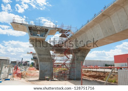 fragment  view  of the road under reconstruction - stock photo
