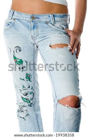 Fragmentary jeans - stock photo