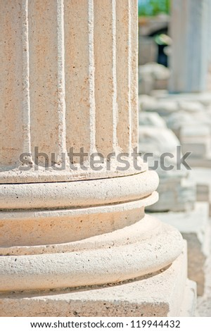 Fragments of columns of the temple of Apollo in Side. Turkey - stock photo