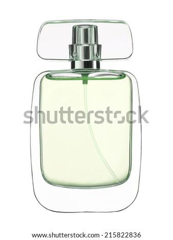 Fragrance bottle. Feminine beauty concept / studio photography of perfume bottle - isolated on white background  - stock photo
