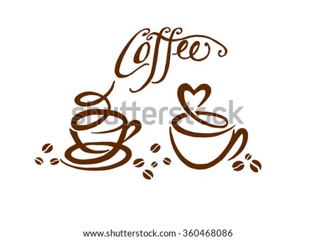 fragrant cups of delicious strong coffee and coffee beans - stock photo