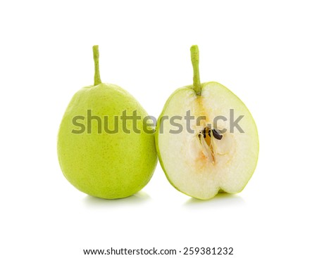 fragrant pear isolated on white background - stock photo