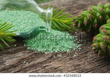 Fragrant salt for bathing . Small small bottles with salt. Salt color. Relaxation after work of the house. A sauna for health. To take a bath . Beauty shop. For women.  - stock photo