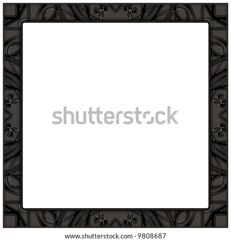 Frame, black and silver, isolated on white