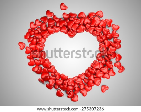 Frame border for photo from hearts. 3d illustration on a grey background - stock photo