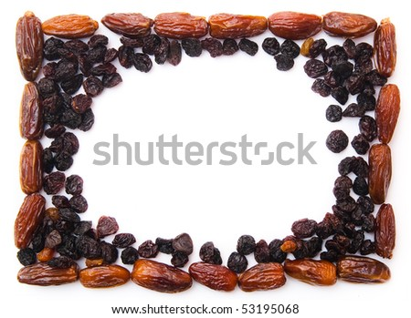 frame, dried fruits (apricot, raisin and date) - stock photo