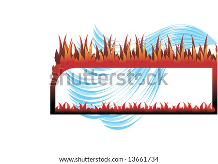 Frame fire and water - rasterized vector image 11747299 from my portfolio. - stock photo