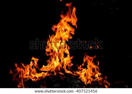 frame fire burn in the dark background  - stock photo