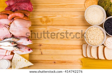 Frame food made with protein and carbohydrates - stock photo