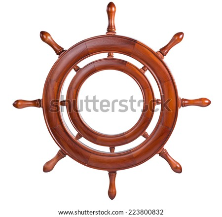 Frame for the image in the form of the ship's steering wheel. isolated